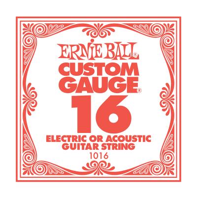 Ernie Ball Ernie Ball Plain Steel Single Guitar String .016 Gauge Pack of 6 strings PO1016 for sale