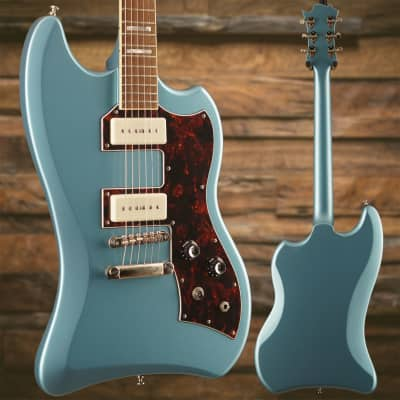Guild S-200 T-Bird ST Franz P90 Pelham Blue w/ Deluxe Padded Bag Black S/N KWM1700496, 7lbs 0.5oz for sale