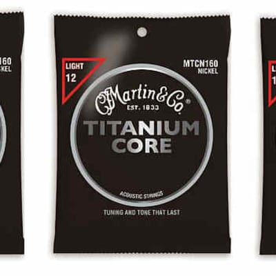 Martin MTCN160 Titanium Core Acoustic Guitar Strings Light 12-55 (3 Pack)