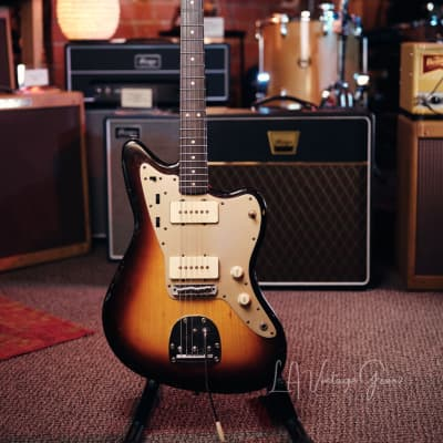 Danocaster Offset Electric Guitar - Anodized Gold Pickguard & Sunburst Finish for sale