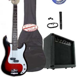 Electric Bass Guitar Pack with 20 Watts Amplifier, Gig Bag, Strap, and Cable, Cherryburst for sale