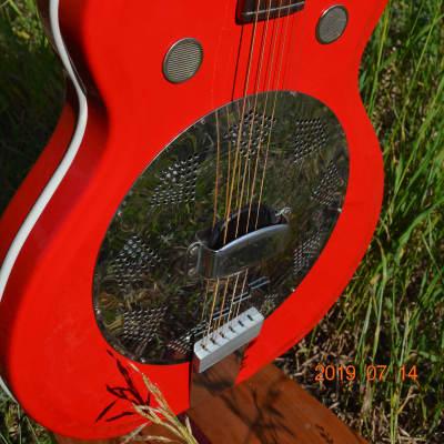 Airline Folkstar Resonator Guitar 1960's Red Res-O-Glass