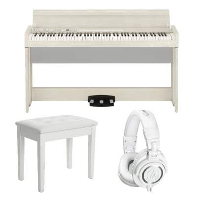 Korg C1 Air Digital Piano with Bluetooth (Limited Edition White Ash), SONGMICS Piano Bench White, AT ATH-M50X White Bundle