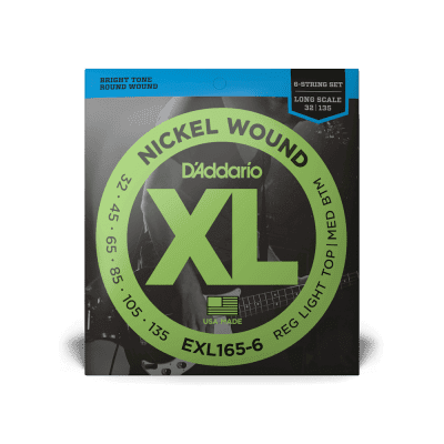 D'Addario EXL165-6 Nickel Wound Long Scale 6-String Bass Guitar Strings, Custom Light Top / Medium Bottom Gauge