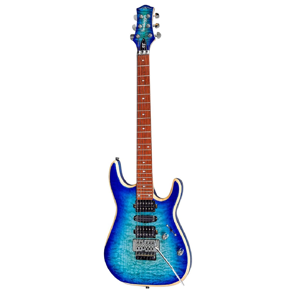 Bootlegger Guitar Royal Blue Flame  Maple, Coil Tap, Stiletto Hard Case & Flask