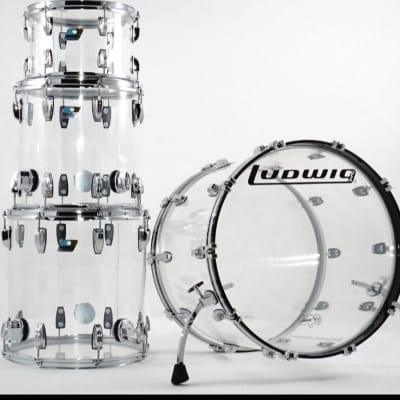 Ludwig Vistalite 4pc Clear and Chrome 16x22, 8x12, 14x14, 16x16 Drum Shell Pack Vistalite 2020 Clear