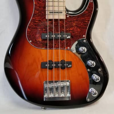 Zon Mosaic Mojo 4 String Electric Bass Guitar, Ash Body, Maple Fingerboard, Sunburst W/ Gig Bag for sale