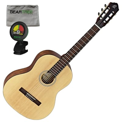 Ortega RST5M Student Series Full Body Size Classical Guitar (Natural Matte Finish) w/ Geartree Cloth and Tuner