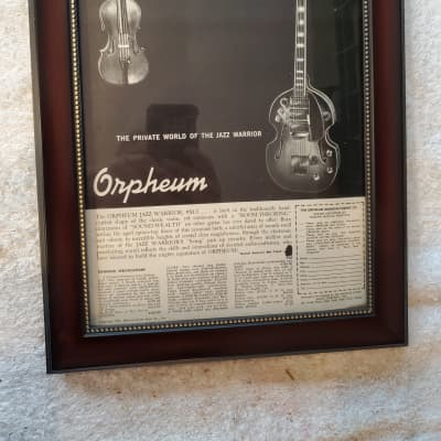 1967 Orpheum Guitars Promotional Ad Framed Orpheum Jazz Warrior Electric Guitar Original