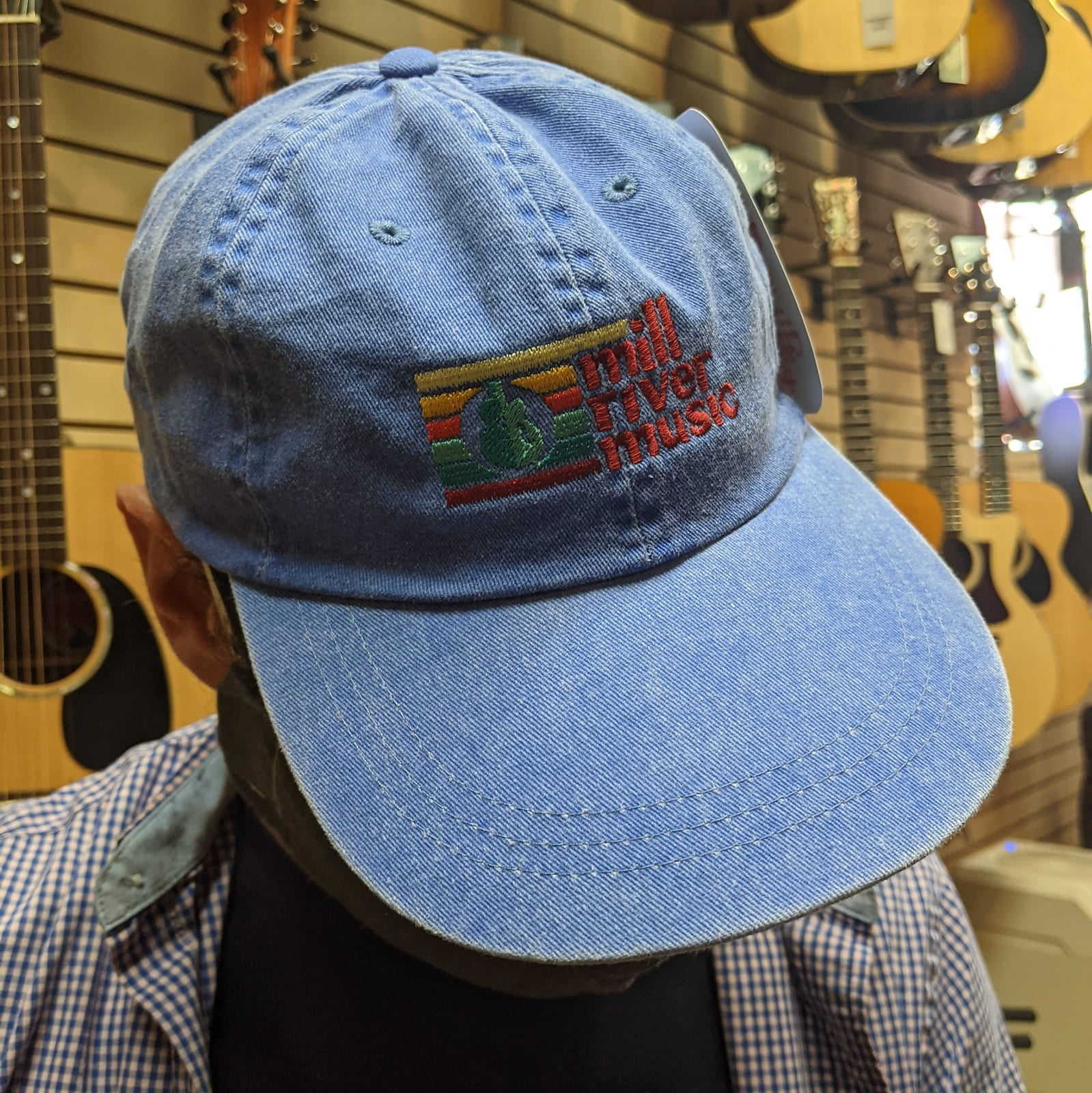 Mill River Music Embroidered Pigment Dyed Dad Hat 1st Ed Main Logo Royal Blue