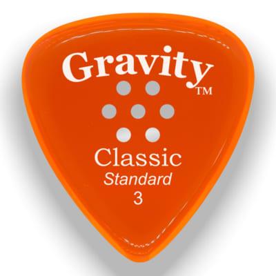 Gravity Picks Classic Standard Multi-Hole Polished Pick, 3mm, Orange