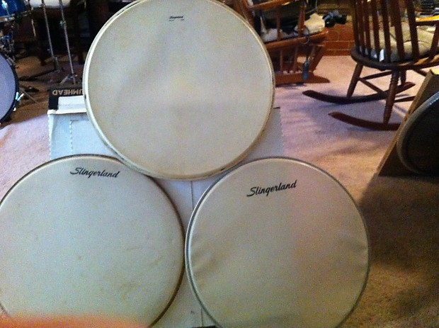 20 inch slingerland bass drum heads 1960s white reverb. Black Bedroom Furniture Sets. Home Design Ideas