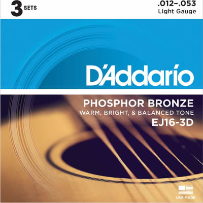 D'Addario EJ16-3D Phosphor Bronze Acoustic Guitar Strings 3-Pack, Light Gauge