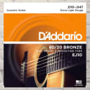 D'Addario EJ10 Extra Light 80/20 Bronze Acoustic Strings 10-47