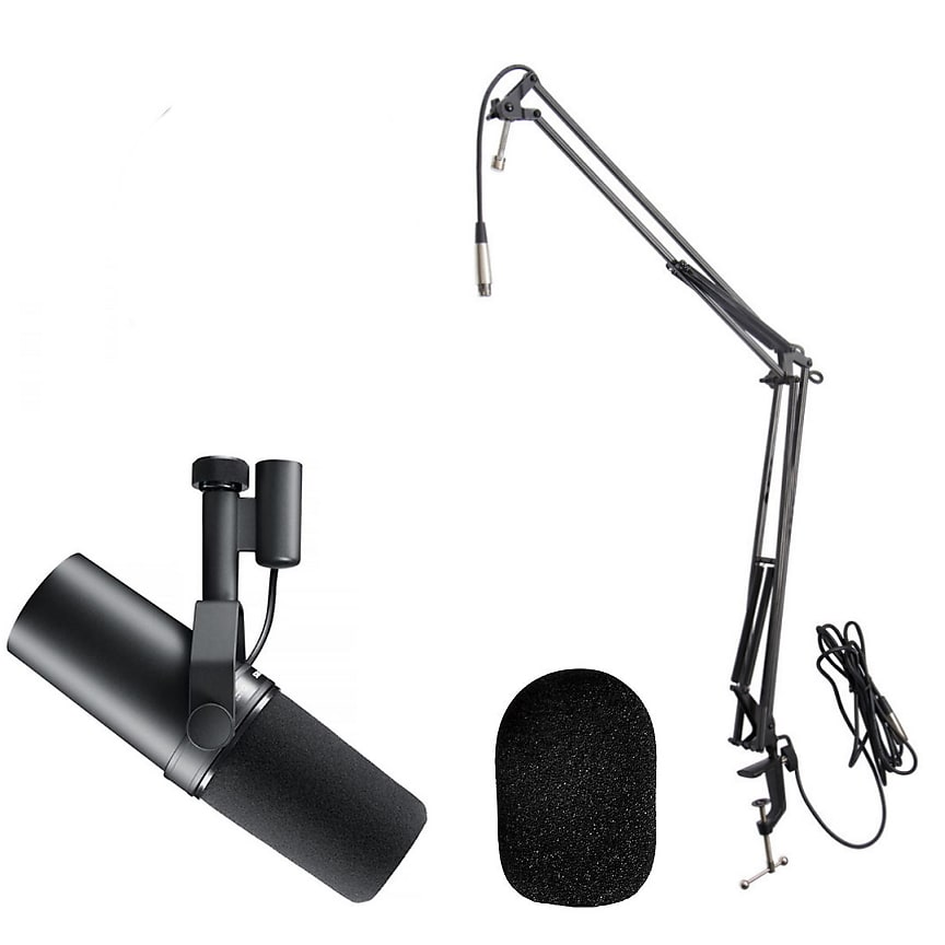 Shure SM7B Cardioid Dynamic Microphone, Broadcast Boom w/ Built-in XLR Cable