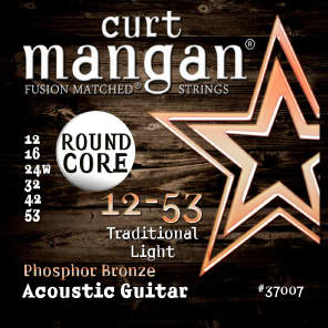 Curt Mangan 37007 Traditional Round Core Phosphor Bronze Acoustic Guitar Strings - Light (12-53)
