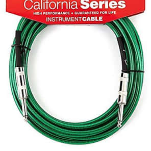 Fender California Series SURF GREEN Electric Guitar Cable, Straight Ends, 20' ft for sale