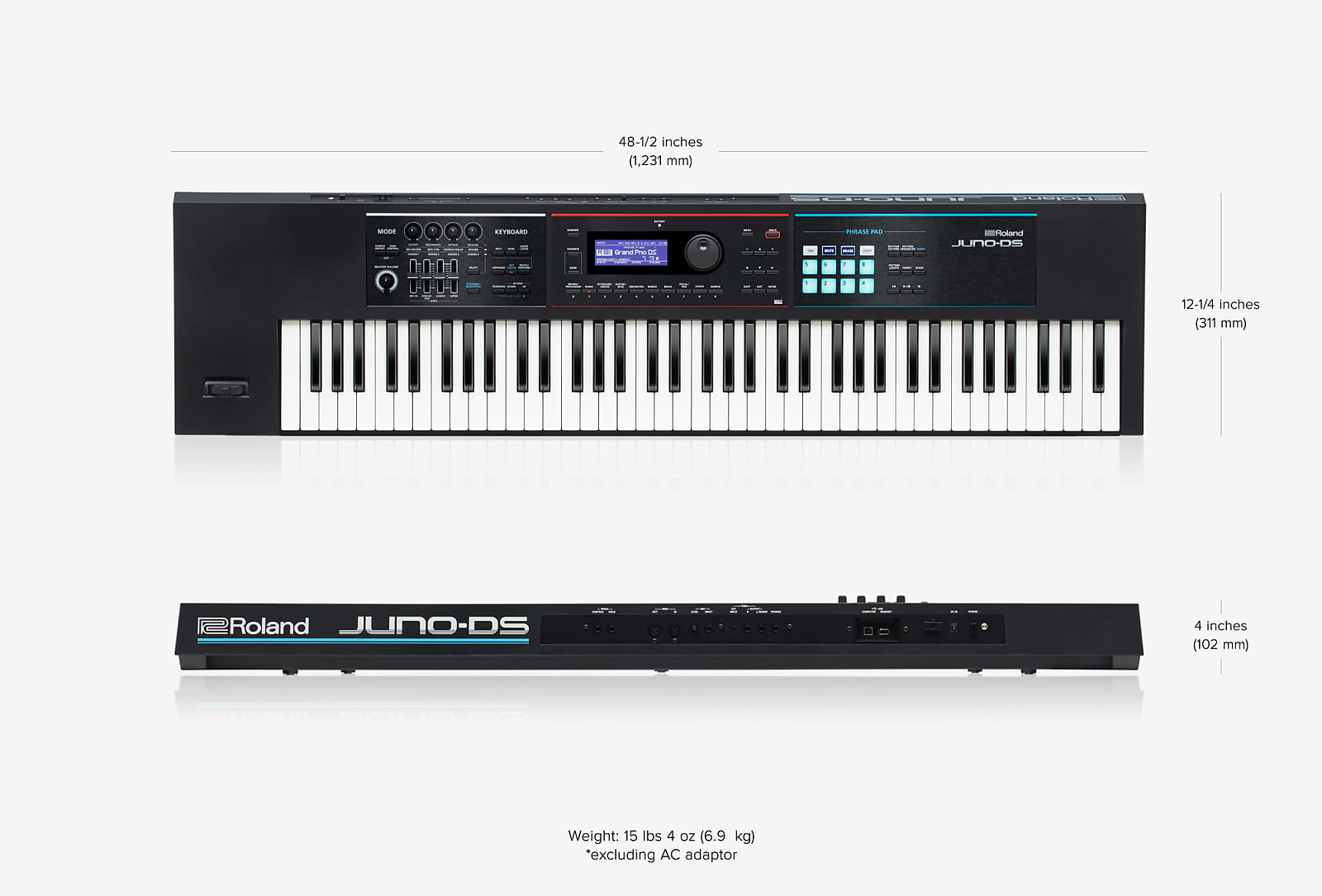 Roland JUNO-DS76 76-Note Weighted-Action Keyboard w/ Pro Sounds, Battery  Powered Operation 2019