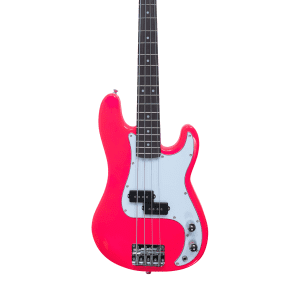 Quincy P BASS Electric Guitar Neon Colour 3/4 Size Kids Girls Boys Ladies Neon Pink mini micro small for sale