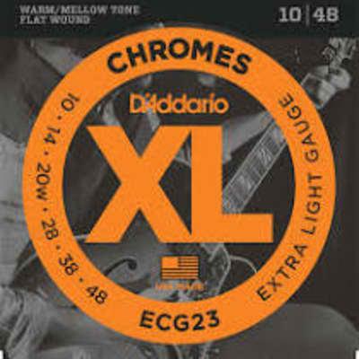D'Addario ECG23 Chromes Flat Wound Electric Guitar Strings, Extra Light, .10-.48