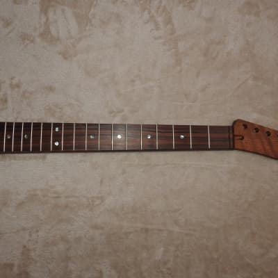 "Tele Style Unfinished Neck Pau Ferro on Figured Mahogany 22 Medium Jumbo Frets C Profile 12"" Radius!"