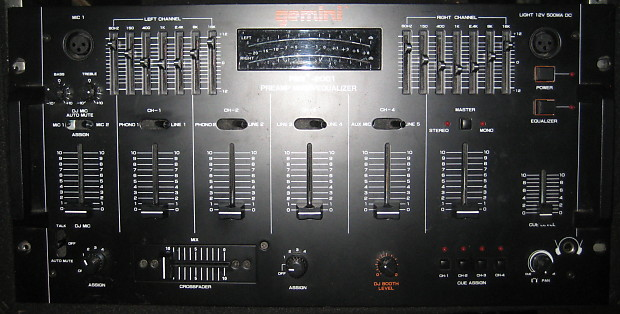 Gemini PMX-2001 Stereo 4 Channel Pre-Amp DJ Pro Mixer / Equalizer