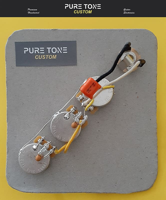 Jazz Bass Guitar Wiring Kit CTS 500K Solid Shaft Pots Orange Drop .047uf Cap