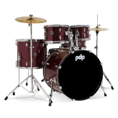 PDP Centerstage 5pc Fusion Drum Set w/Cymbals - Ruby Sparkle