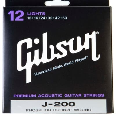 Gibson J-200 Deluxe Phosphor Bronze Light Acoustic Guitar Strings for sale