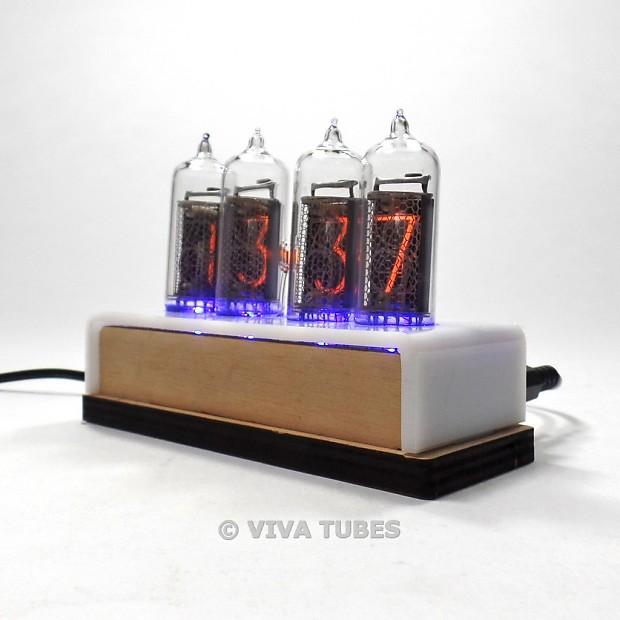 IN-14 Nixie Vacuum Tube Clock 4 Digit Natural Wood White Enclosure
