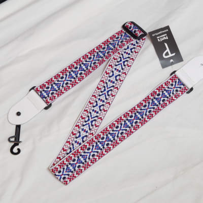 """PERRI's Hootenanny Red White and Blue Nylon Guitar STRAP - new - 2"""" wide"""