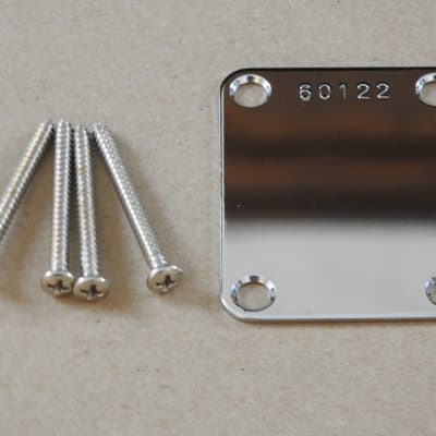 Chrome Neck Plate With Serial Number For Fender Tele Strat J Bass and P Bass Screws Included!
