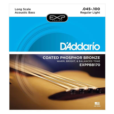D'Addario EXPPBB170 Coated Phosphor Bronze Acoustic Bass, Long Scale, 45-100
