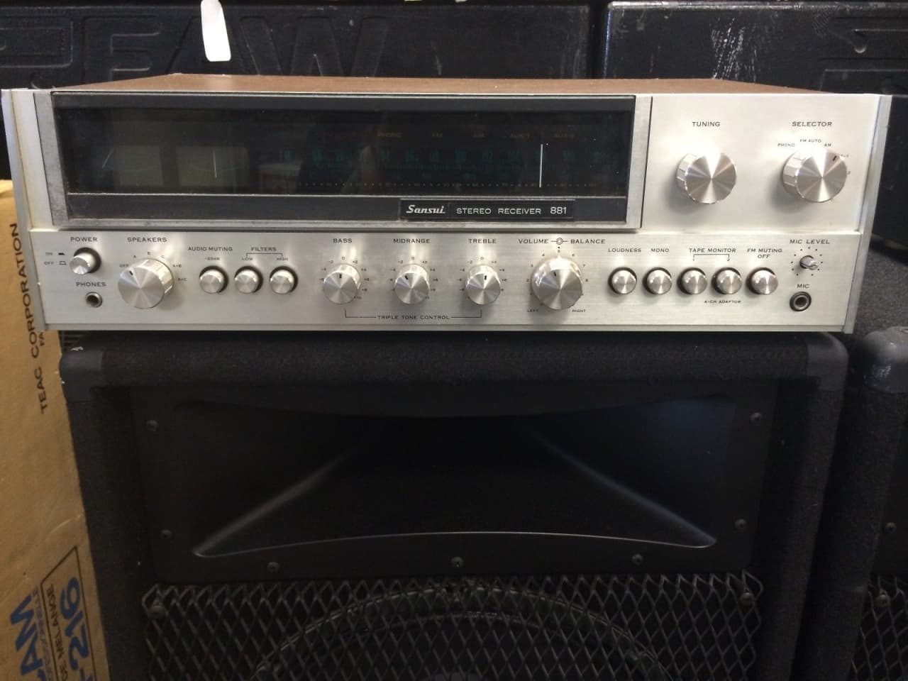 vintage sansui 881 stereo receiver 1970 s natural silver reverb