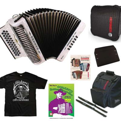 Hohner Xtreme Corona II White GCF/Sol Crown Accordion +Case/Bag/Straps/DVD/Shirt | Authorized Dealer