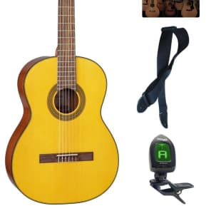 Takamine GC1LH NAT Classical Acoustic Guitar, Left Handed, Natural Bundle for sale