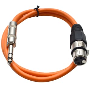 "Seismic Audio SATRXL-F3ORANGE XLR Female to 1/4"" TRS Male Patch Cable - 3'"