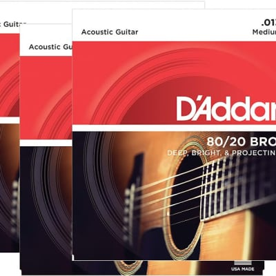 D'Addario Guitar Strings 3 Pack EJ12 Medium 80/20 Bronze Acoustic