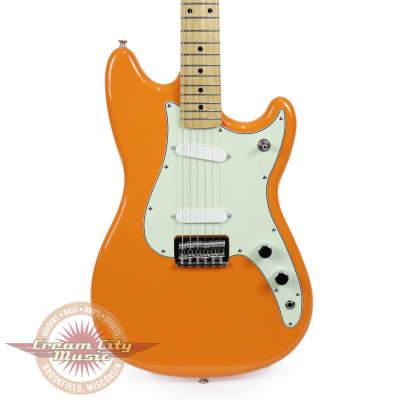 Brand New Fender Duo Sonic with Maple Fingerboard in Capri Orange Demo image