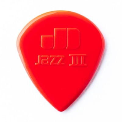 Dunlop Jazz 3 Red Nylon Picks, 6-pack