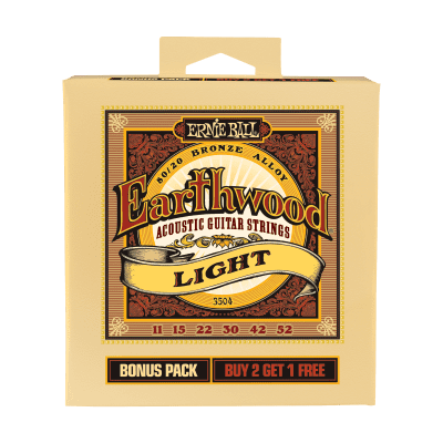 Ernie Ball P03504 Earthwood Light 80/20 Bronze Acoustic Guitar Strings Bonus Pack