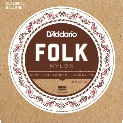 D'Addario EJ32 Folk Nylon Ball End Silver Wound/Black Nylon Trebles