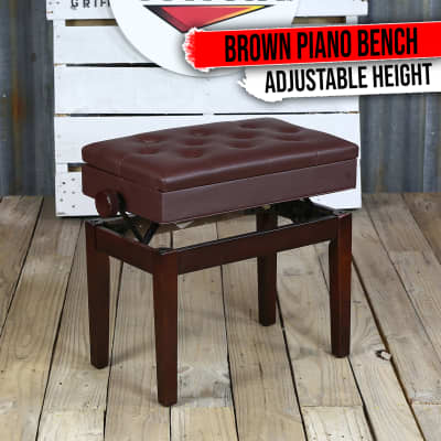 Brown Leather Piano Bench - GRIFFIN Keyboard Seat Wood Vanity Chair Guitar Stool