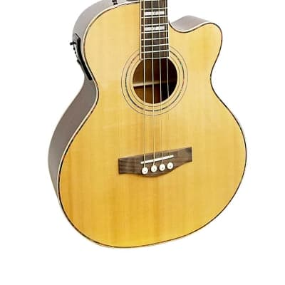 Glen Burton GAB474J-NT Solid Spruce Top Mahogany Neck Deluxe Acoustic Electric 4-String Bass Guitar for sale