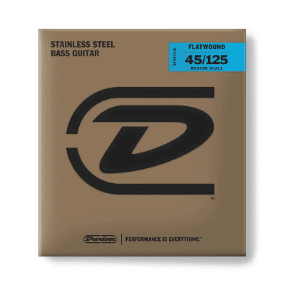 Dunlop DBFS45125M Stainless Steel Medium Scale Flatwound 5-String Bass Strings - (45-125)
