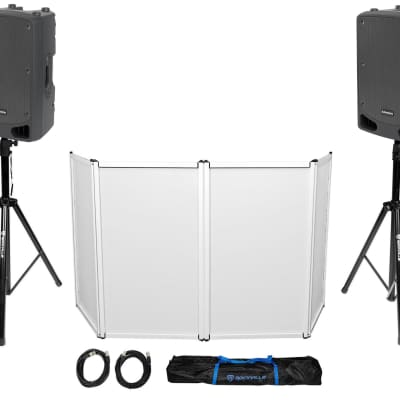 "Samson DJ Package w/ (2) 15"" RL115A Powered Speakers+Stands+Facade+Cables+Bag"