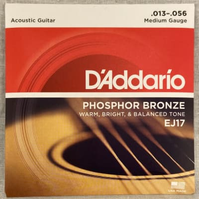D'Addario EJ17 Phosphor Bronze Medium Acoustic Guitar Strings, .013 - .056