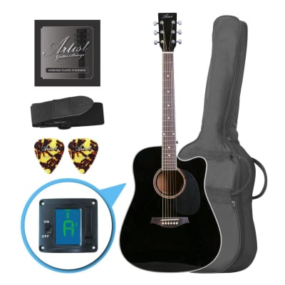 Artist LSPCBK Beginner Acoustic Guitar Pack With Cutaway - Black for sale