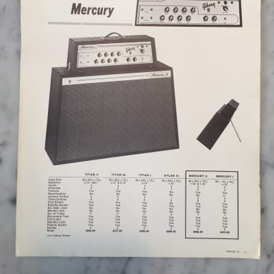 1963 Gibson Mercury Dealer Sheet Collector Vintage