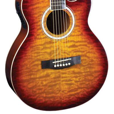Indiana MAD-QTTB Madison Deluxe Acoustic Electric Guitar- Quilt Tobacco Sunburst for sale